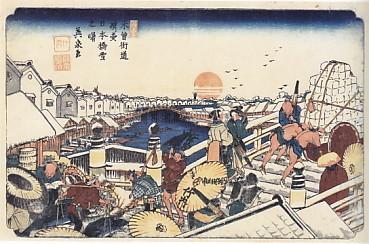 日本橋雪之景木曽海道英泉