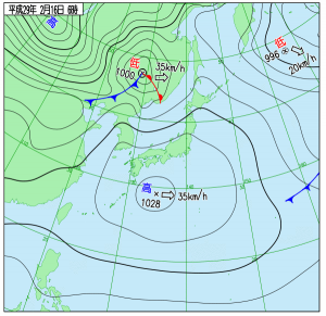 2月16日(木)6時の実況天気図