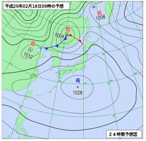 2月16日(木)9時の予想天気図