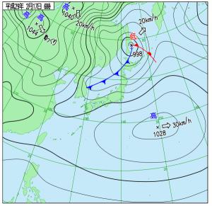 2月17日(金)6時の実況天気図