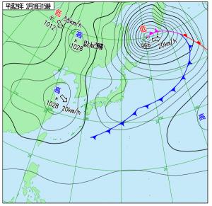 2月18日(土)15時の実況天気図
