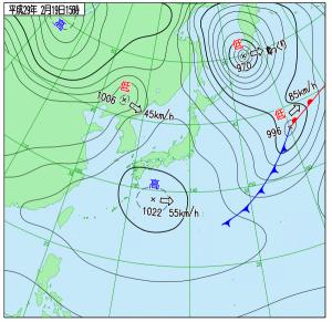 2月19日(日)15時の実況天気図
