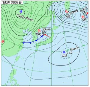 2月20日(月)6時の実況天気図