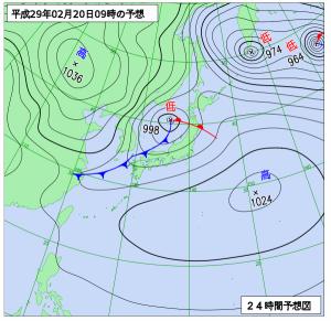 2月20日(月)9時の予想天気図