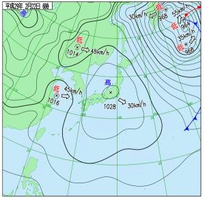 2月22日(水)6時の実況天気図