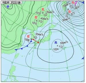 2月22日(水)15時の実況天気図