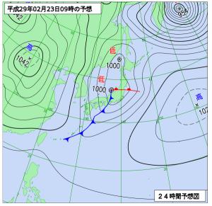 2月23日(木)9時の予想天気図