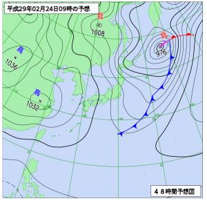 2月24日(金)9時の予想天気図