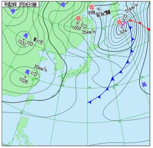 2月24日(金)15時の実況天気図