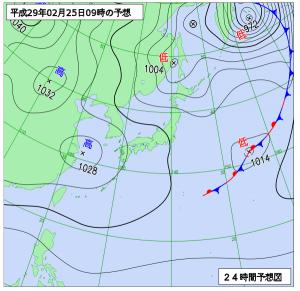 2月25日(土)9時の予想天気図