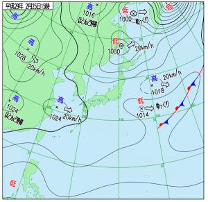 2月23日(土)15時の実況天気図