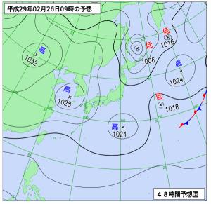 2月26日(日)9時の予想天気図