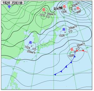 2月28日(火)15時の実況天気図