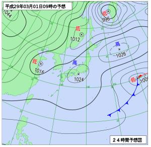 3月1日(水)9時の予想天気図