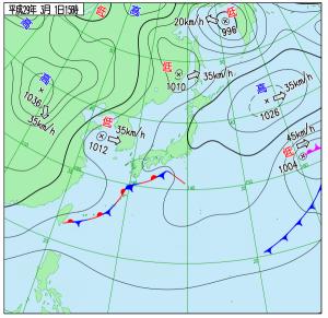 3月1日(水)15時の実況天気図