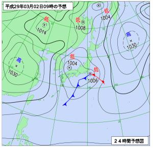 3月2日(木)9時の予想天気図