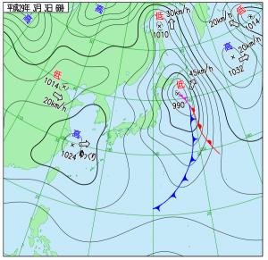 3月3日(金)6時の実況天気図