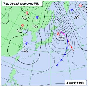 3月3日(金)9時の予想天気図
