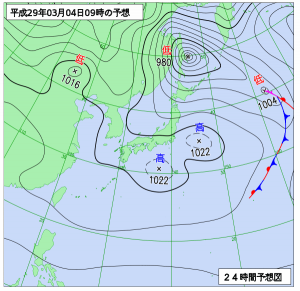 3月4日(土)9時の予想天気図