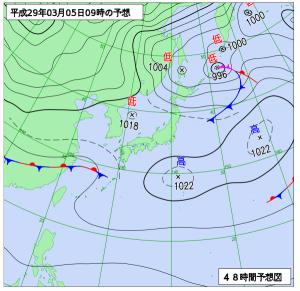3月5日(金)9時の予想天気図