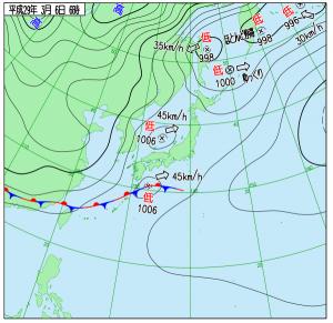 3月6日(月)6時の実況天気図
