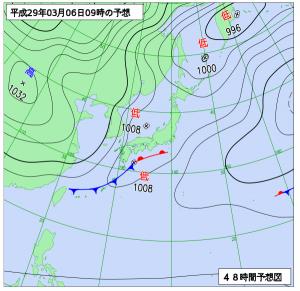 3月6日(月)9時の予想天気図