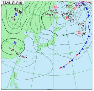 3月8日(水)15時の実況天気図