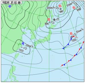 3月9日(木)6時の実況天気図