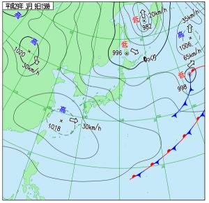 3月9日(木)15時の実況天気図