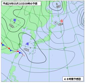 3月10日(金)9時の予想天気図