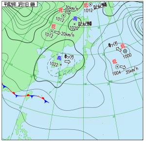 3月11日(土)6時の実況天気図
