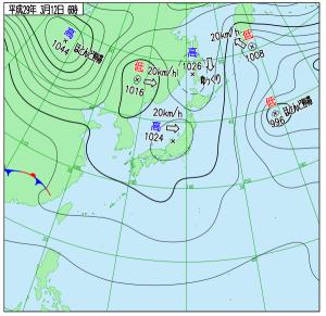 3月12日(日)6時の実況天気図