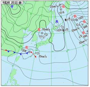 3月13日(月)6時の実況天気図