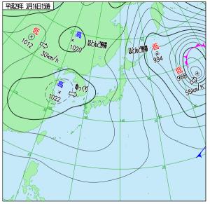 3月16日(木)15時の実況天気図