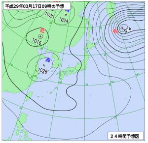 3月17日(金)9時の予想天気図