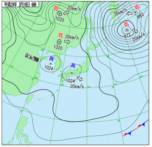 3月18日(土)6時の実況天気図