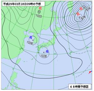 3月18日(土)9時の予想天気図