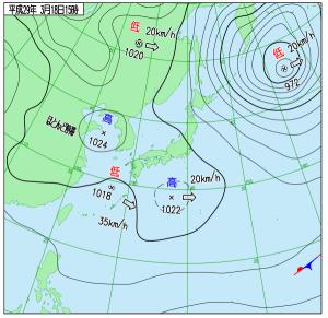 3月18日(土)15時の実況天気図
