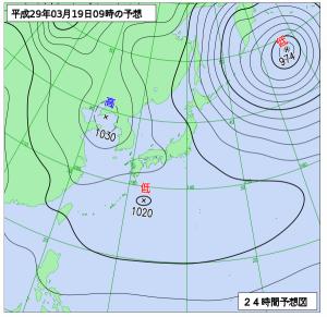 3月19日(日)9時の予想天気図
