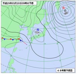 3月20日(月祝)9時の予想天気図