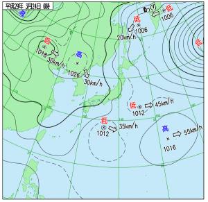 3月24日(金)6時の実況天気図