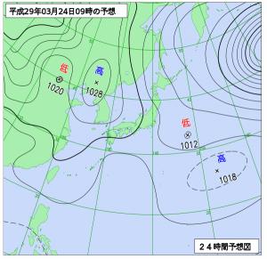 3月24日(金)9時の予想天気図