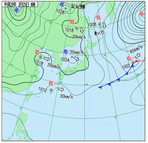 3月25日(土)6時の実況天気図