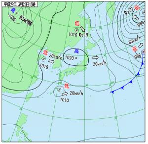 3月25日(土)15時の実況天気図