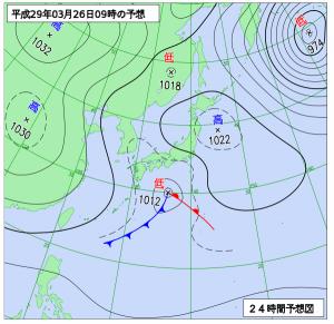3月26日(日)9時の予想天気図