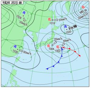 3月27日(月)6時の実況天気図
