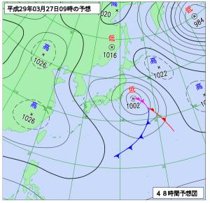 3月27日(月)9時の予想天気図