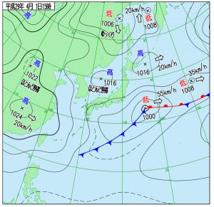 4月1日(土)15時の実況天気図
