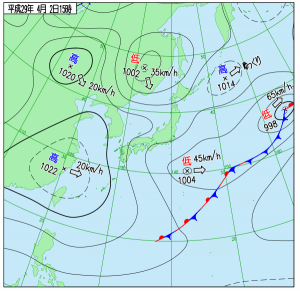 4月2日(日)15時の実況天気図