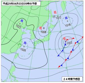 4月3日(月)9時の予想天気図